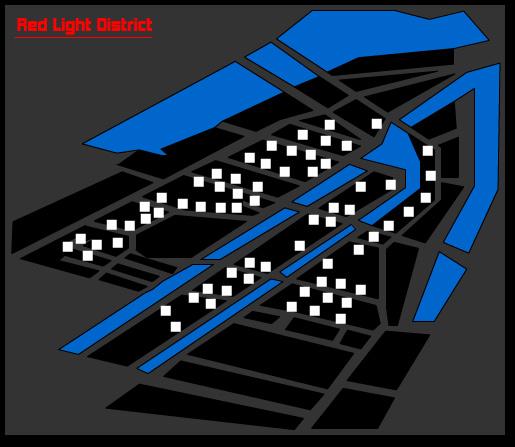 Амстердам. Улица крассных фонарей. Девушки на карте