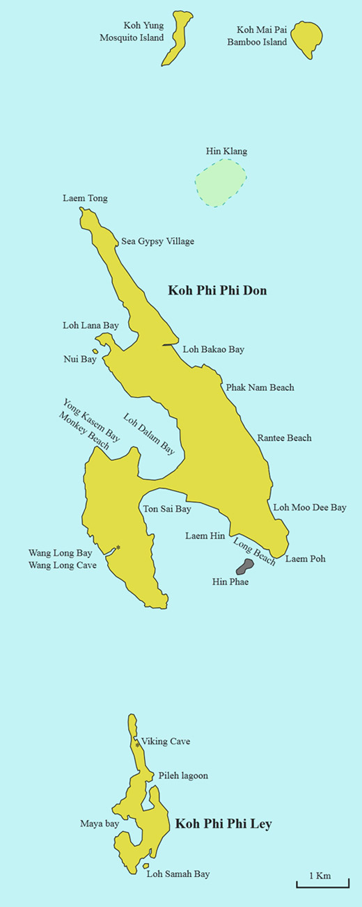 Карта Пхи-Пхи Дон, Пхи-Пхи Лей, Остров Бамбу, Майя бэй