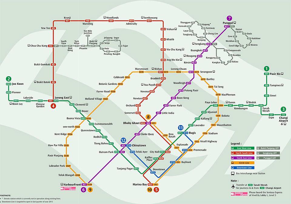 Метро в Сингапуре. Схема