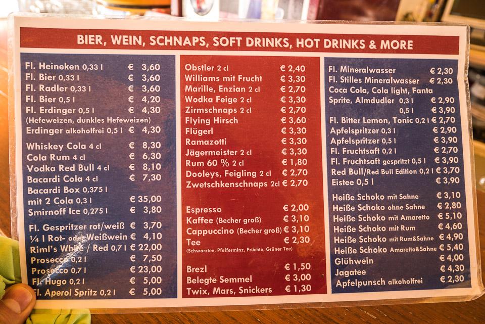 Цены в Зёльдене