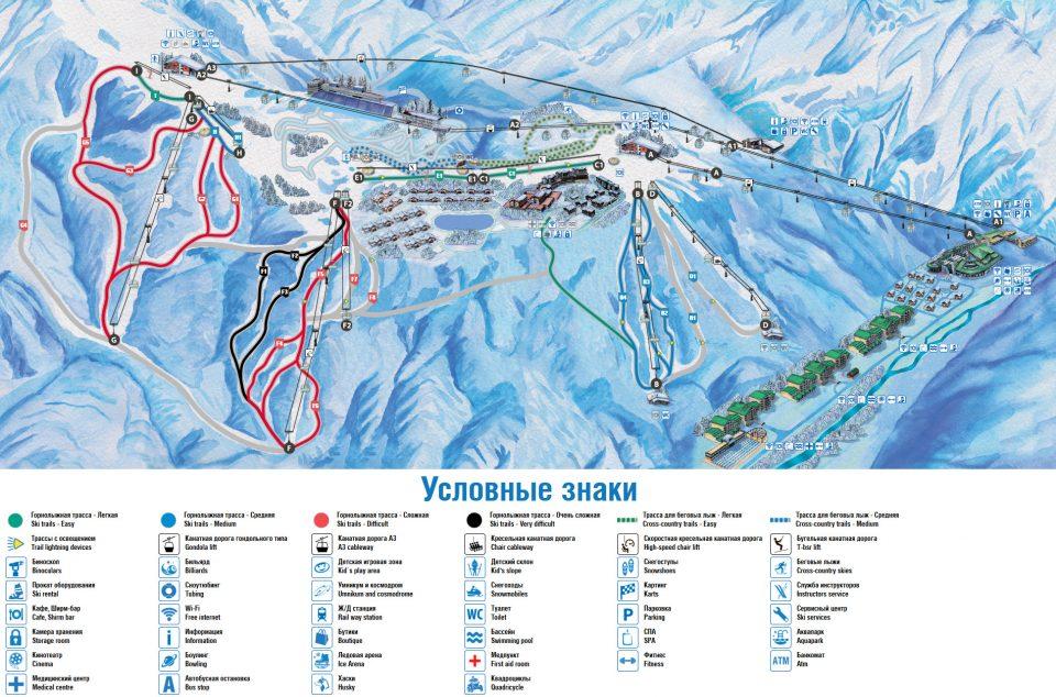 Карта трасс горного курорта Газпром