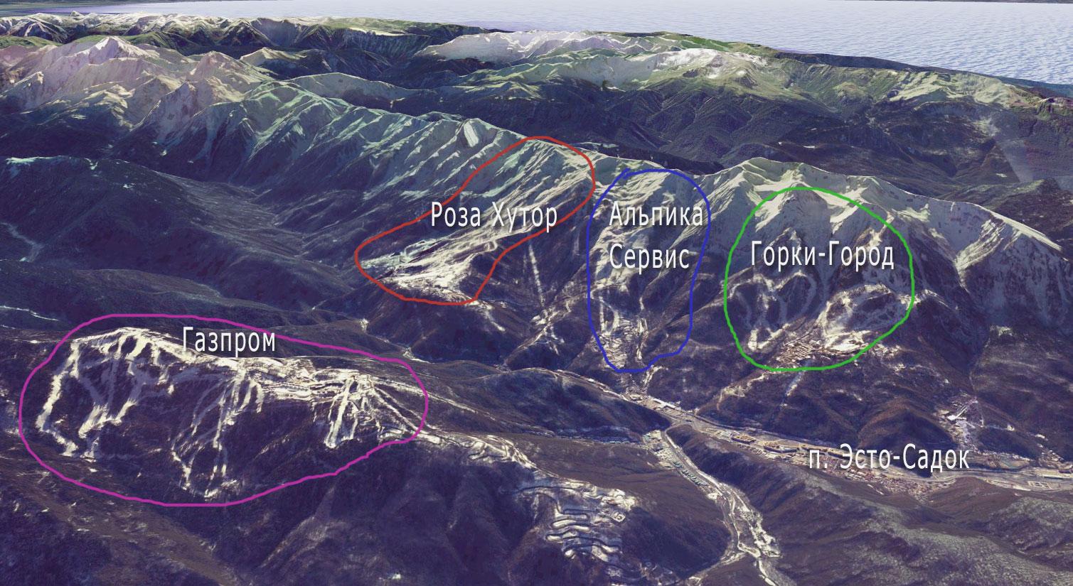 Рельефная карта горных курортов Сочи