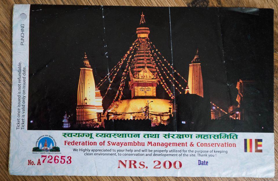 Билет в храм Сваямбунатх